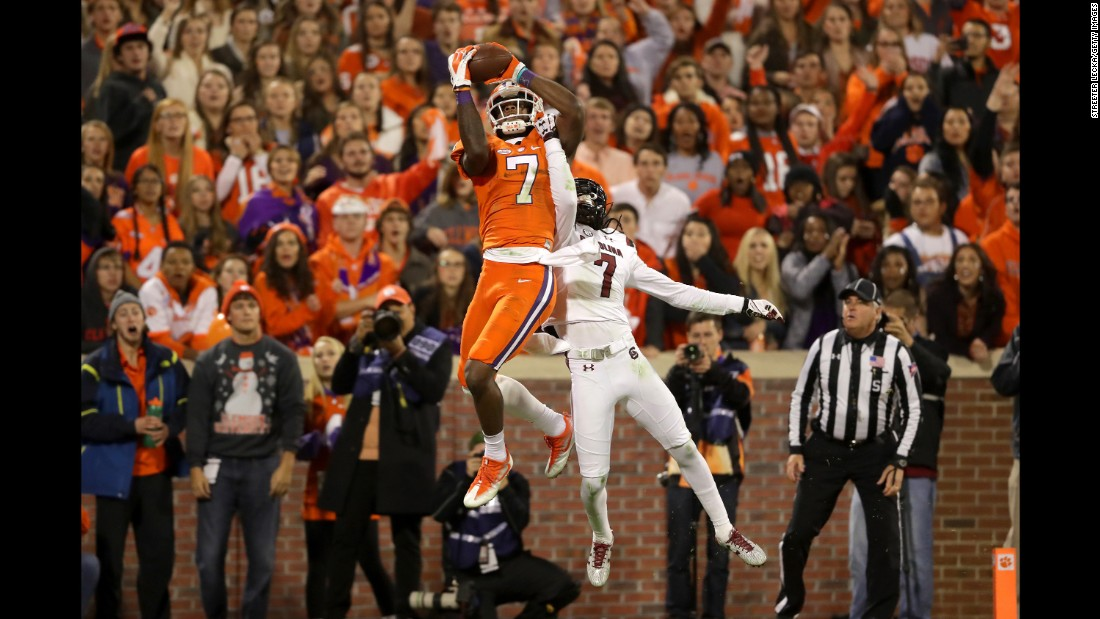 Clemson wide receiver Mike Williams makes a catch for a touchdown over South Carolina cornerback Jamarcus King during the November 26 game in Clemson.