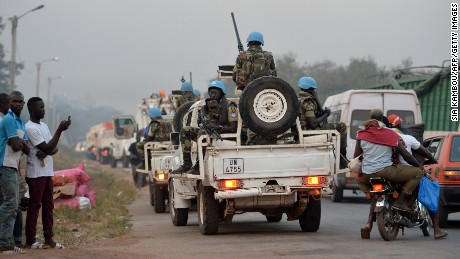 UN Peacekeepers arrive in the Ivory Coast city of Bouake on January 6 where soldiers demanding more pay and housing rose up earlier in the day. Soldiers seized control of Bouake on January 6, 2017 in a protest over pay. firing rocket launchers in the streets and terrifying residents, as the government called for calm.