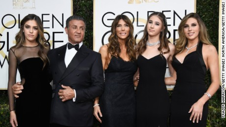 BEVERLY HILLS, CA - JANUARY 08:  Actor Sylvester Stallone (2nd L), model Jennifer Flavin (C), and (L-R) 2017 Miss Golden Globe Sistine Stallon, Scarlet Stallone and Sophia Stallone attend the 74th Annual Golden Globe Awards at The Beverly Hilton Hotel on January 8, 2017 in Beverly Hills, California.  (Photo by Frazer Harrison/Getty Images)