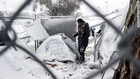 Conditions worsen for Europe's refugees as temperatures plummet