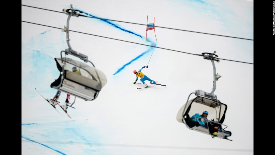 Norwegian skier Leif Kristian Haugen loses his balance during a World Cup event in Adelboden, Switzerland, on Saturday, January 7.