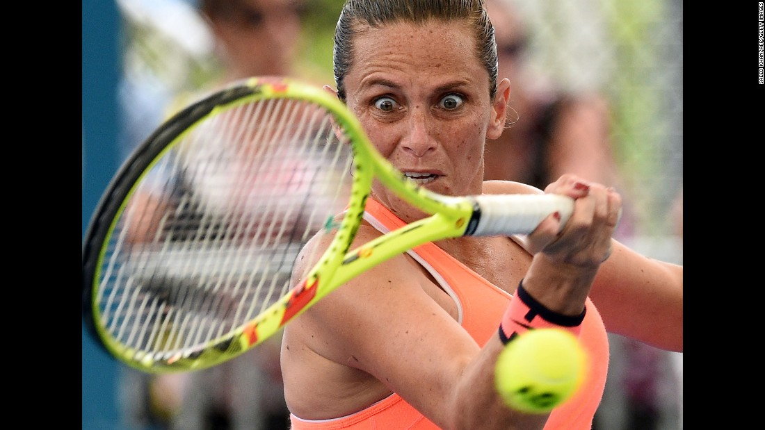Roberta Vinci hits a forehand Wednesday, January 4, during a second-round match at the Brisbane International in Australia.