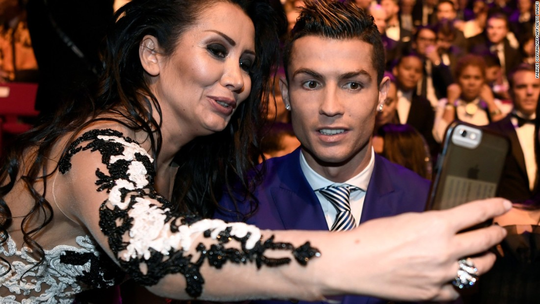 Ronaldo, here posing for a selfie prior to the awards, was one of the last people to arrive at the ceremony in Zurich, Switzerland.