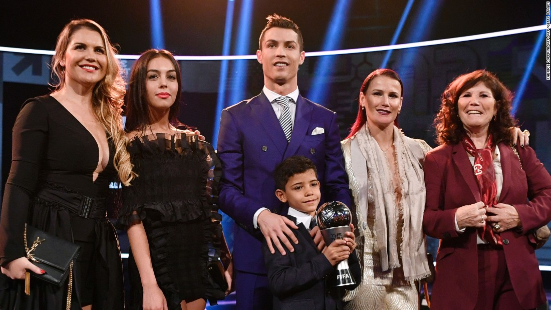 It was a family affair for the 31-year-old, who posed with his mother Maria (right), two sisters, partner Georgina Rodriguez (second left) and his son Cristiano Jnr.
