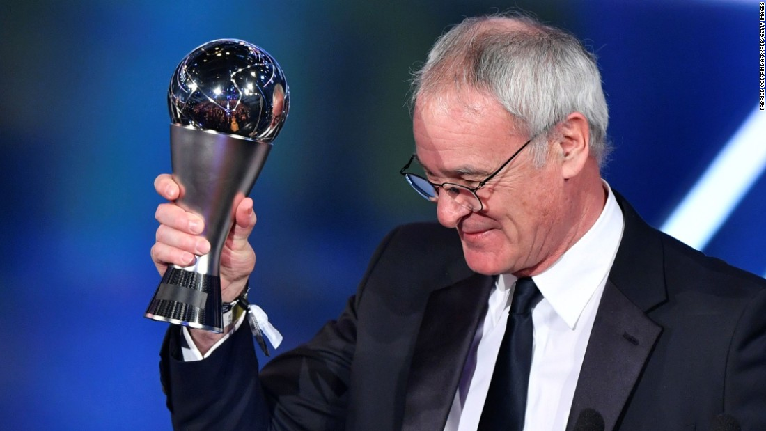 Veteran Italian Claudio Ranieri won the men's coach award for guiding Leicester City to the 2015-16 English Premier League title, defying bookmakers' odds of 5,000-1.