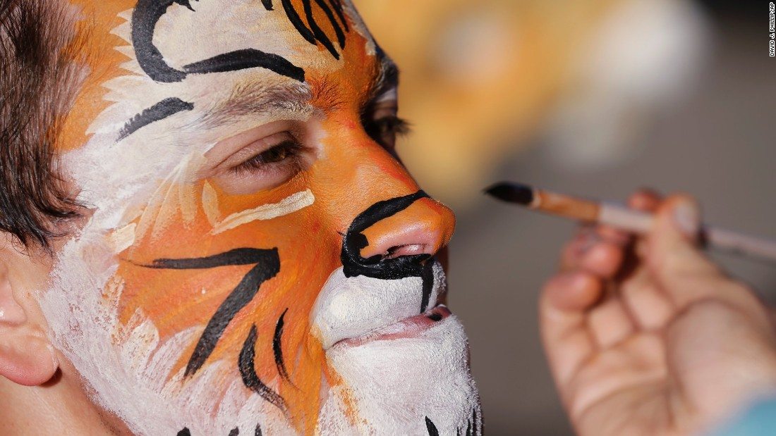 A Clemson fan gets his face painted before the game.