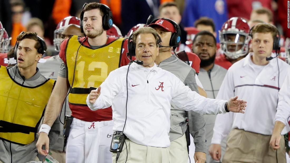 Alabama head coach Nick Saban reacts during the second half. Saban has won four national championships with the Crimson Tide. He also won one as coach of LSU.