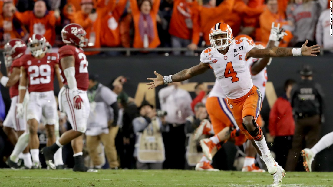 Clemson quarterback Deshaun Watson celebrates after throwing a touchdown pass to win the championship game of the College Football Playoff. Clemson defeated Alabama 35-31 for its first national title since 1981. The Tigers also avenged their loss to Alabama in last year's title game.