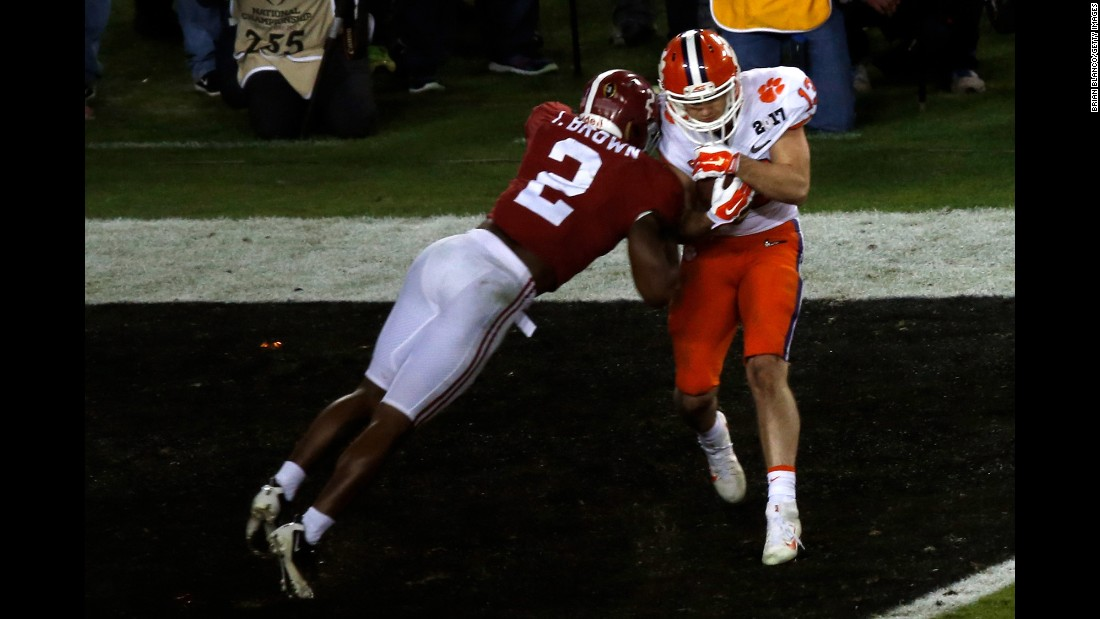 Clemson wide receiver Hunter Renfrow pulls in the game-winning score with one second remaining. The game was played at Raymond James Stadium in Tampa, Florida.
