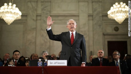 Sen. Jeff Sessions is sworn in before the Senate Judiciary Committee during his confirmation hearing to be the U.S. attorney general January 10, 2017 in Washington, DC. Sessions was one of the first members of Congress to endorse and support President-elect Donald Trump, who nominated him for Attorney General.