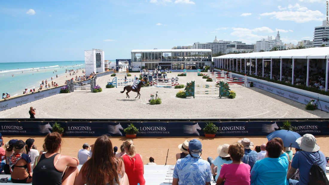 The Longines Global Champions Tour -- an elite, eight-month long showjumping competition -- is now in its 12th year. The competition visits locations all over the world, including the beaches of Miami (pictured).