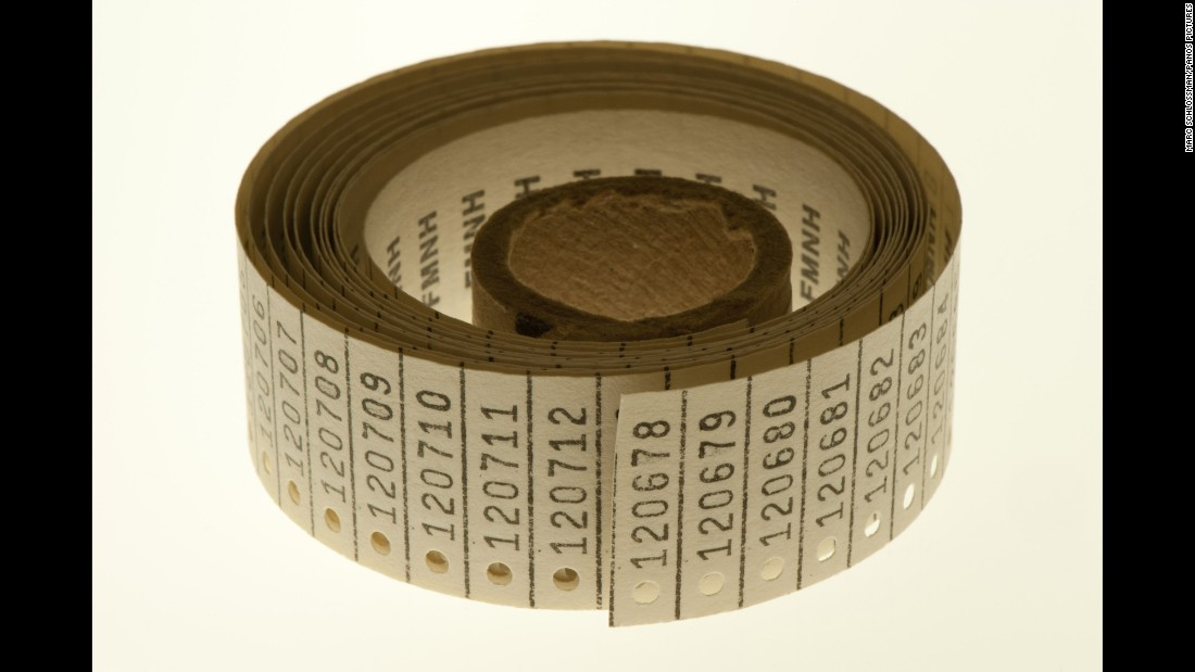 As new specimens are entered into the museum's fish collection, they are tagged with a unique number from this roll.