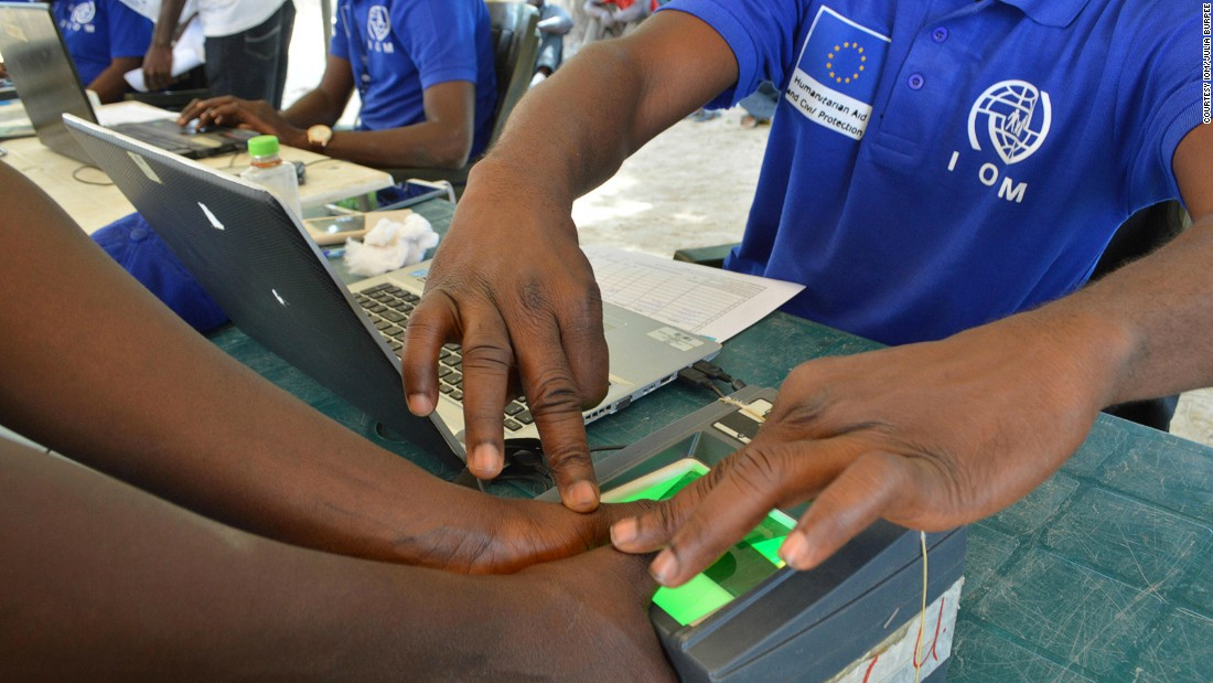 To keep track of the internally displaced people IOM's aid workers use biometrics such as fingerprints.