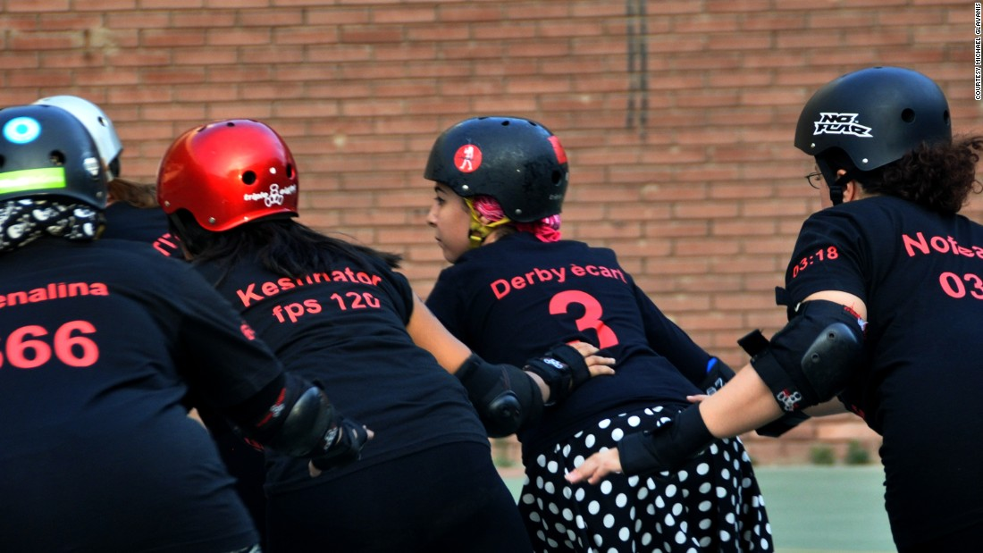 CaiRollers consist of working women - teachers, social workers, engineers, architects, researchers, and even a pharmacist - all spend twice weekly evenings on the derby track. In line with tradition, the players adopt unique names that reflect their alter ego and on-track persona.<br /><br />Pictured (from left):  Heba El Kest, graphic designer; Lina El Gohary, pharmacist; Nouran El Kabbany, graphic designer; Stacey Gilmore, music teacher; Susan Nour, history teacher.