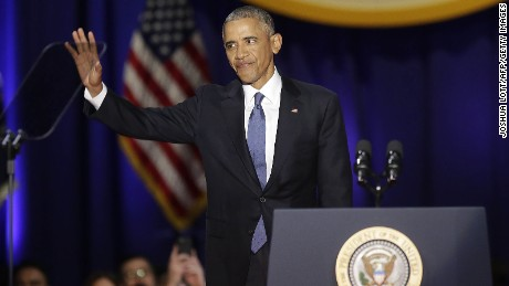 US President Barack Obama gestures before speaking during his farewell address in Chicago, Illinois on January 10, 2017. Barack Obama closes the book on his presidency, with a farewell speech in Chicago that will try to lift supporters shaken by Donald Trump's shock election. / AFP / Joshua LOTT        (Photo credit should read JOSHUA LOTT/AFP/Getty Images)