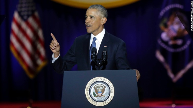 US President Barack Obama speaks during his farewell address in Chicago, Illinois on January 10, 2017. Barack Obama closes the book on his presidency, with a farewell speech in Chicago that will try to lift supporters shaken by Donald Trump's shock election. / AFP / Joshua LOTT        (Photo credit should read JOSHUA LOTT/AFP/Getty Images)