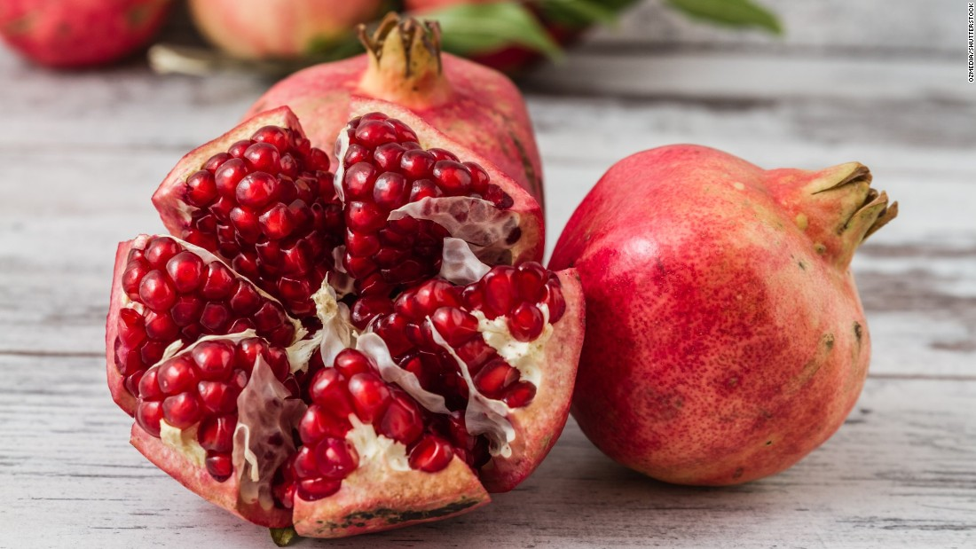 Pomegranate is in season from late fall to early winter and is a great source of antioxidants and phytonutrients like beta-carotene, plus potassium and vitamin C.