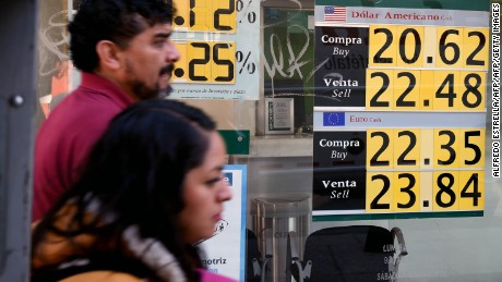 Currency boards show the US dollar exchange rate at a bank in Mexico City on January 11, 2017. Mexico's peso hit a new low on Wednesday after US President-elect Donald Trump vowed to make the country pay for a huge border wall and to tax companies that ship jobs abroad. The Mexican currency shed 0.9 percent, trading at 22.20 pesos per dollar after hitting a historic low 22 pesos per greenback on Tuesday, according to private bank Citibanamex.  / AFP / Alfredo ESTRELLA        (Photo credit should read ALFREDO ESTRELLA/AFP/Getty Images)