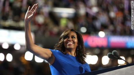 Michelle Obama acknowledges the crowd before delivering remarks on the first day of the 2016 Democratic National Convention.