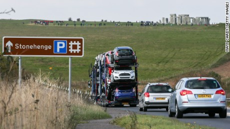 Traffic jams are a familiar sight on the road leading to the ancient stone circles at Stonehenge.