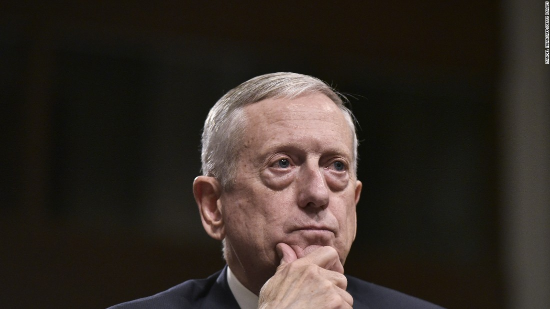"Mattis testifies before the Senate Armed Services Committee. He <a href=""http://www.cnn.com/2017/01/12/politics/james-mattis-defense-confirmation/"" target=""_blank"">emerged from his confirmation hearing </a>with broad support after he took a strong posture against Russian President Vladimir Putin and answered tough questions on women and gays in combat."