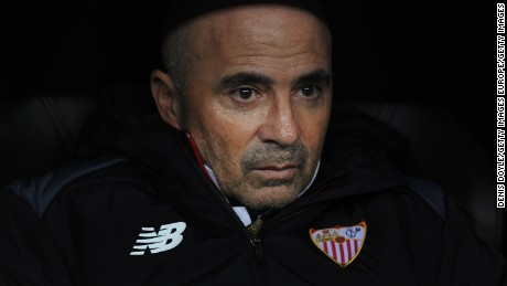 MADRID, SPAIN - JANUARY 04:  Sevilla FC manager Jorge Sampaoli looks on before the start of the Copa del Rey Round of 16 First Leg match between Real Madrid and Sevilla  at Bernabeu on January 4, 2017 in Madrid, Spain.  (Photo by Denis Doyle/Getty Images)