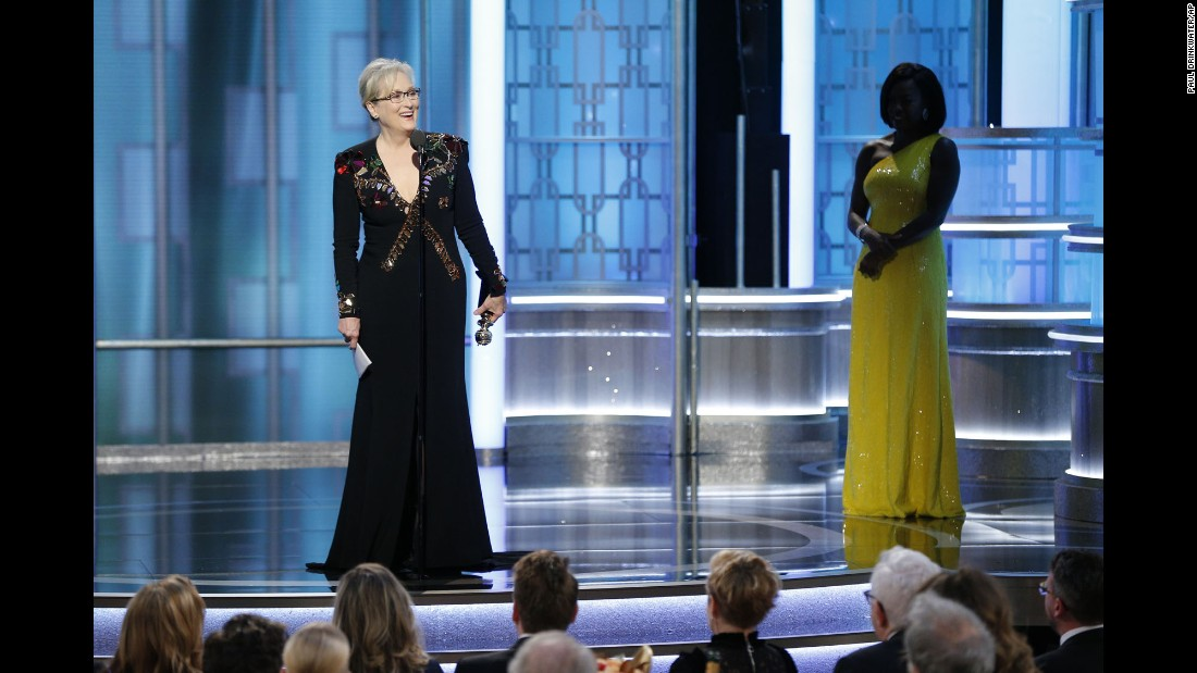 "Actress Meryl Streep accepts the Cecil B. DeMille lifetime achievement award during the Golden Globe Awards on Sunday, January 8. In her acceptance speech, she took the opportunity <a href=""http://www.cnn.com/2017/01/08/entertainment/meryl-streep-golden-globes-speech/index.html"" target=""_blank"">to make a sustained attack on President-elect Donald Trump,</a> denouncing his campaign rhetoric and criticizing him for mocking a disabled reporter. <a href=""http://www.cnn.com/2017/01/09/entertainment/donald-trump-meryl-streep-golden-globes/"" target=""_blank"">Trump defended himself on Twitter,</a> saying he never mocked the reporter and that Streep was a ""Hillary flunky"" and ""one of the most overrated actresses in Hollywood."""