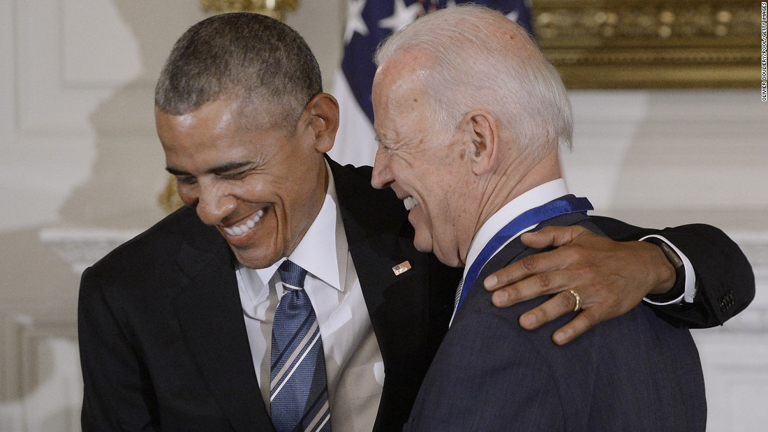 "Obama and Biden laugh after <a href=""http://www.cnn.com/2017/01/12/politics/biden-awarded-presidential-medal-of-freedom/index.html"" target=""_blank"">Obama surprised Biden</a> with the Presidential Medal of Freedom, the nation's highest civilian honor, on Thursday, January 12. ""If you can't admire Joe Biden as a person you've got a problem,"" Obama said, quoting a Republican senator. ""He's as good a man as God ever created."""