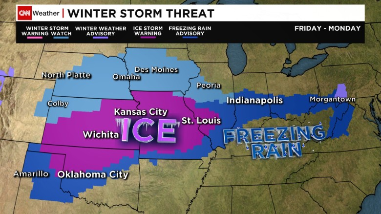 Ice storm targets midsection of US