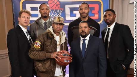 NEW YORK, NY - JANUARY 11: (L-R) Jeff Kwatinetz, Rashard Lewis, Allen Iverson, Ice Cube, Kenyon Martin, and Roger Mason Jr. attend a press conference announcing  the launch of the BIG3, a new, professional 3-on-3 basketball league, on January 11, 2017 in New York City.  (Photo by Michael Loccisano/Getty Images for BIG3)