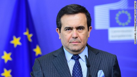 Mexican Secretary of Economy Ildefonso Guajardo Villarreal gives a press conference following his meeting with European Commissioner for Trade at the  European Commission building, in Brussels, on May 11, 2015.