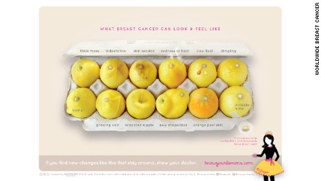 An image of a carton of lemons shows symptoms that may be due to breast cancer.