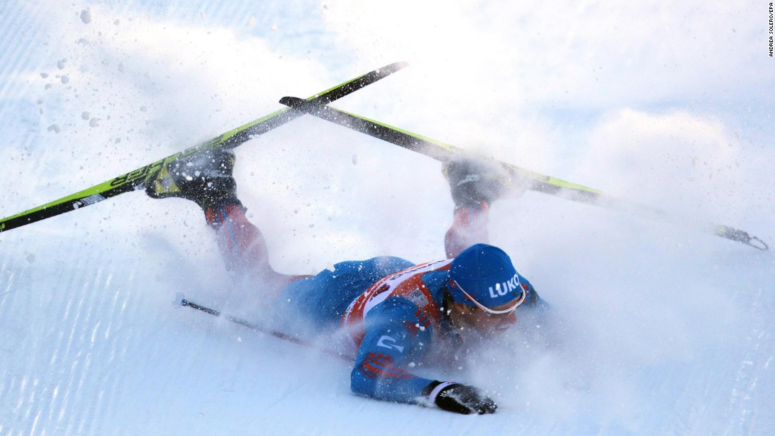Sergey Ustiugov of Russia falls during the men's sprint qualifying round of the FIS Cross Country Skiing World Cup in Dobbiaco, Italy, on Saturday, January 14.