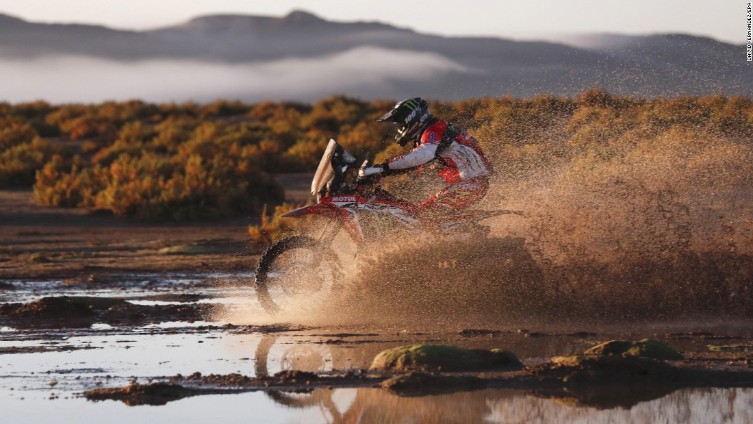 Team Honda rider Michael Metge is seen in action during the eighth stage of the 2017 Dakar Rally between Uyuni, Bolivia, and Salta, Argentina, on January 10.