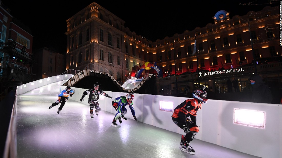"Skaters compete in the Red Bull Crashed Ice event during the Ice Cross Downhill World Championship, in Marseille, France, on January 14. <a href=""http://www.cnn.com/2017/01/09/sport/gallery/what-a-shot-sports-0109/index.html"" target=""_blank"">See 32 amazing sports photos from last week</a>"