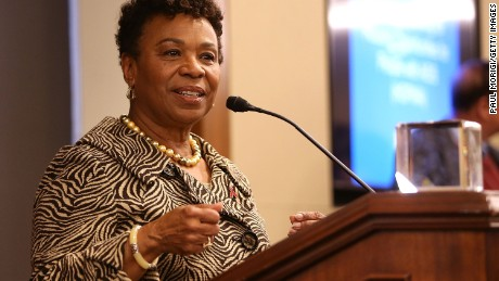 Rep. Barbara Lee (D-CA) accepts the Elizabeth Taylor Legislative Leadership Award at the AIDSWatch 2016 Positive Leadership Award Reception at the Rayburn House Office Building on February 29, 2016 in Washington, DC.