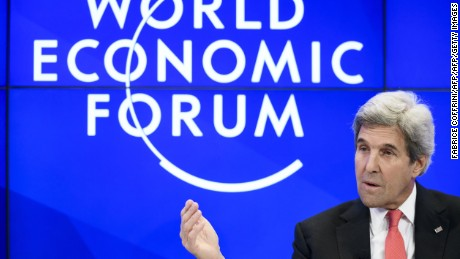 Outgoing US state secretary John Kerry delivers a speech during a meeting on the opening day of the World Economic Forum, on January 17, 2017 in Davos. The global elite begin a week of earnest debate and Alpine partying in the Swiss ski resort of Davos on January 17, 2017 in a week bookended by two presidential speeches of historic import.  / AFP / FABRICE COFFRINI        (Photo credit should read FABRICE COFFRINI/AFP/Getty Images)
