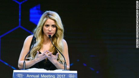 Colombian singer Shakira delivers a speech after receiving the Crystal Award during the Crystal Award ceremony on the eve of the opening day of the World Economic Forum, on January 16, 2017 in Davos.  / AFP / FABRICE COFFRINI        (Photo credit should read FABRICE COFFRINI/AFP/Getty Images)