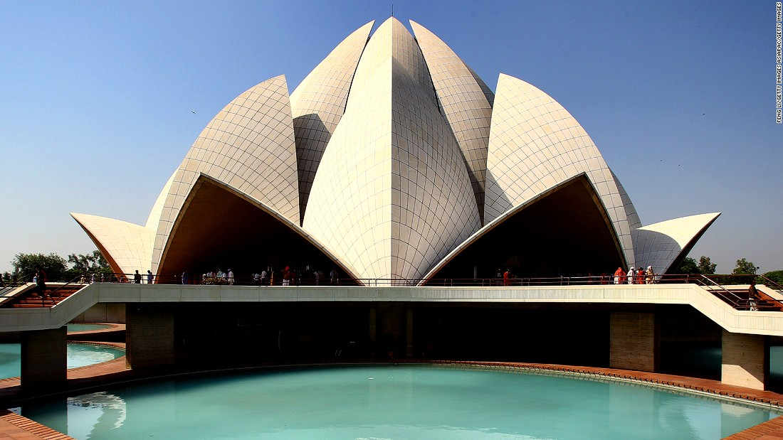 <strong>Lotus Temple, New Delhi: </strong>This elegant lotus-shaped temple has welcomed more than 70 million worshippers since its opening in 1986.  It's one of several Bahá'í Houses of Worship, a religious center of the Baha'i Faith.