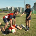 Baber player on ground