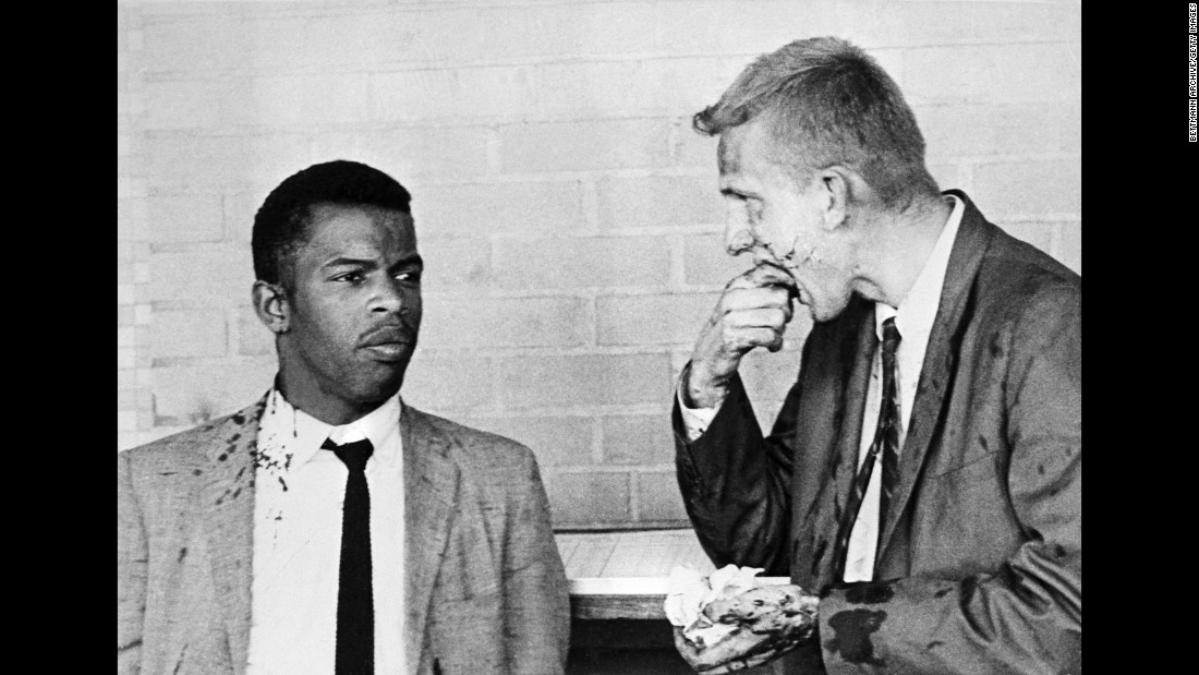"John Lewis, left, and James Zwerg stand together after being attacked and beaten by segregationists in Montgomery, Alabama, on May 20, 1961. Lewis is now a U.S. congressman from Georgia. <a href=""http://www.cnn.com/2011/US/05/16/Zwerg.freedom.rides/"" target=""_blank"">Zwerg tells the story behind the photo</a>"