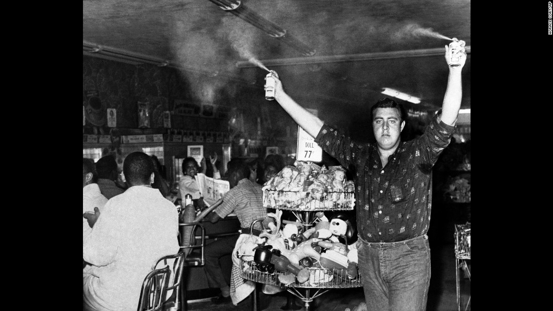 Woolworth's temporarily closed a store in Atlanta after Harold Sprayberry sprayed insect repellant above the heads of nearly 100 sit-in protesters in October 1960. He was arrested, and the store reopened about an hour later.