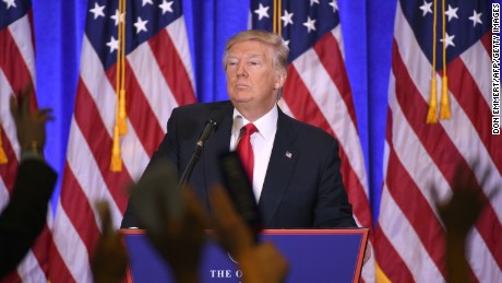 US President-elect Donald Trump answers journalists questions during a press conference on January 11, 2017 in New York.