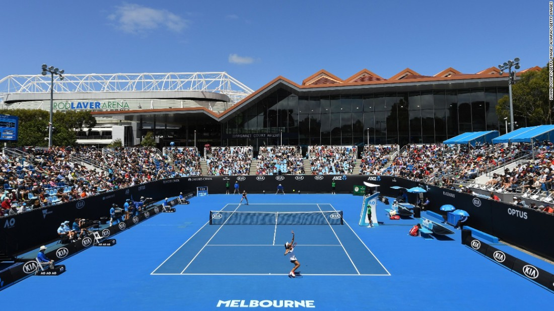 The scene on Court 3 in Melbourne as Riske and Zhang did battle.