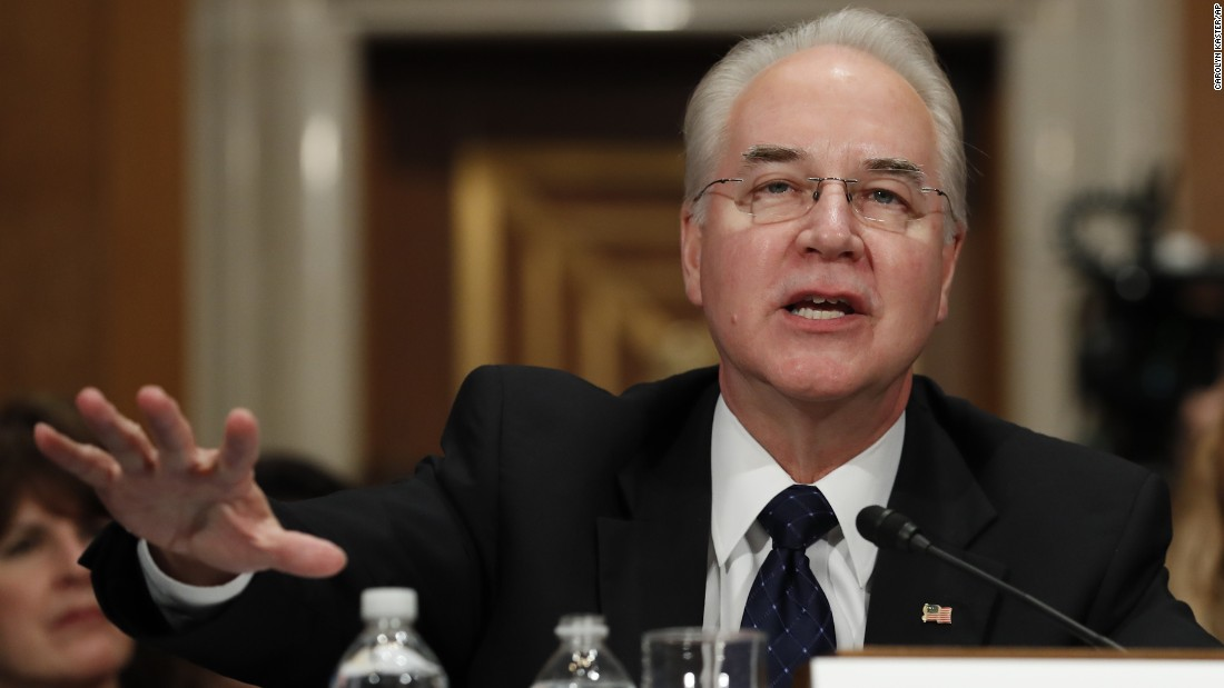 "Price testifies at his confirmation hearing in January. Price <a href=""http://www.cnn.com/2017/01/24/politics/tom-price-nomination-hearing-finance/"" target=""_blank"">confronted accusations</a> of investing in companies related to his legislative work in Congress -- and in some cases, repealing financial benefits from those investments. Price firmly denied any wrongdoing and insisted that he has taken steps to avoid any conflicts of interests."