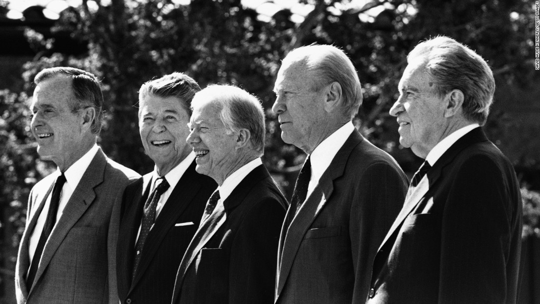 Presidents Bush, Reagan, Jimmy Carter, Gerald Ford and Richard Nixon stand together in Simi Valley, California, in 1991 at the dedication of the Ronald Reagan Library. It was the first time five presidents gathered in one place.