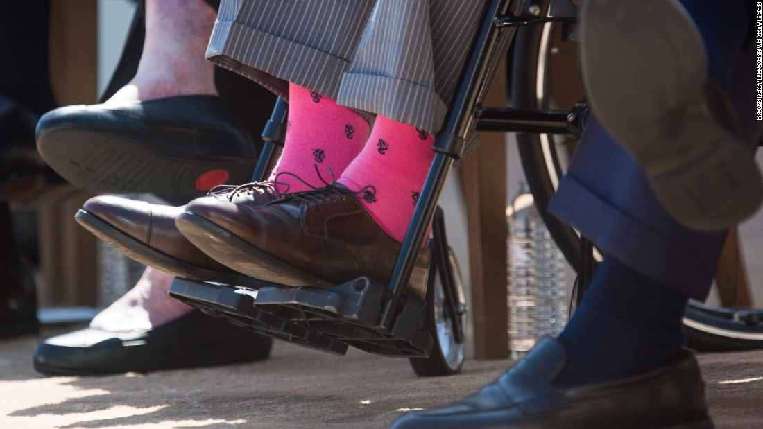 Bush's colorful socks are seen at the dedication in 2013 of the George W. Bush Presidential Library and Museum on the campus of Southern Methodist University in Dallas.