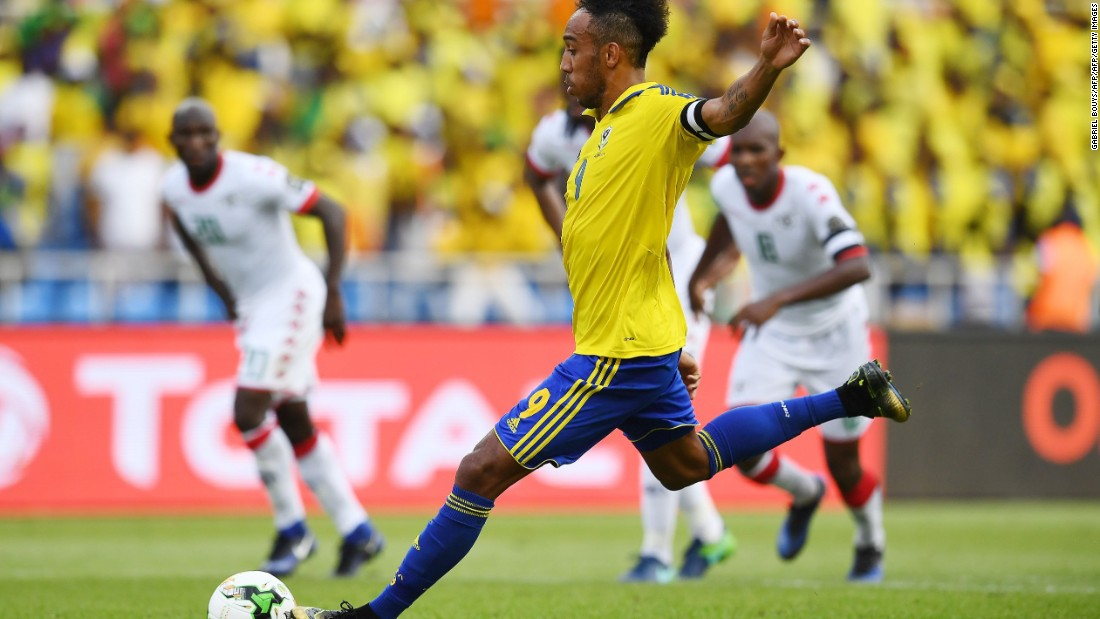Gabon captain Pierre-Emerick Aubameyang changed all that, winning a penalty when he was brought down by Burkina Faso's Kouakou Hervé Koffi after racing through on goal.