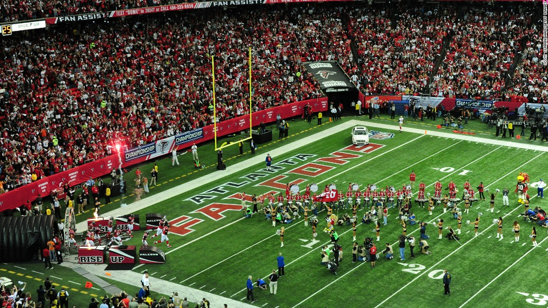 The Atlanta Falcons take the field before the NFC Championship Game against the San Francisco 49ers at the Georgia Dome on January 20, 2013. It was the first time Atlanta hosted an NFC Championship Game.