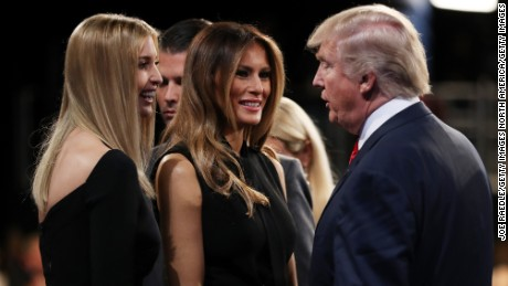 LAS VEGAS, NV - OCTOBER 19: Republican presidential nominee Donald Trump speaks with his wife Melania Trump and his daughter Ivanka Trump after the third U.S. presidential debate at the Thomas & Mack Center on October 19, 2016 in Las Vegas, Nevada. Tonight is the final debate ahead of Election Day on November 8.  (Photo by Joe Raedle/Getty Images)